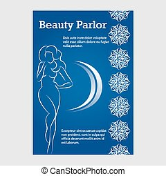 Brochure template with beauty woman silhouette