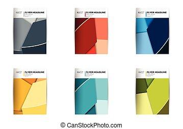 brochure, templates., annuel, aviateur, couverture, design., divers, couleur, rapport