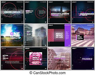 Brochure templates with lines, dots and circles. Covers design templates for electronic music festival square flyer, leaflet, brochure, report, presentation, advertising. Electro music party concept.