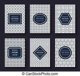 Brochure vector design templates with minimal classic vintage stripe patterns and labels