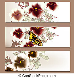 Brochure vector set in floral style for design