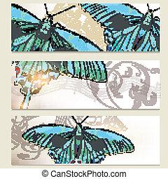 Brochure vector set with butterflie