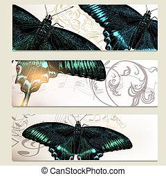 Brochure vector set with butterflies