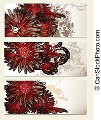Brochure vector set with floral
