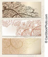 Brochure vector set with vintage swirl ornament for design