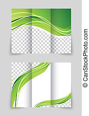 Brochure with wave - Tri-fold wave green brochure with font...