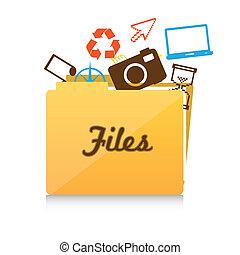 brochuren, fil, ikon