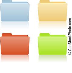 brochuren, fil, sted, etikette