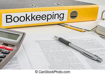 brochuren, hos, den, etikette, bogholderiet