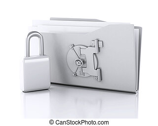 brochuren, og, lock., security data, concept., 3, illustration
