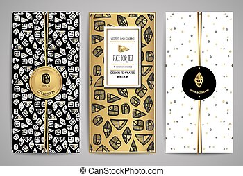 brochures, ensemble, elements., templates., vecteur, branché, conception, main, dessiné