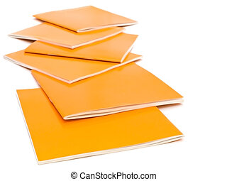 brochures - photo of the some orange brochures against the...