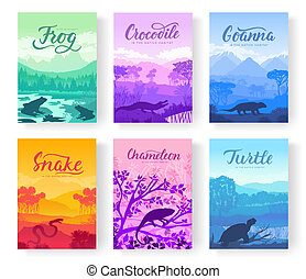 Brochures with varieties of reptiles. Animals in their habitat. Flyers with wild animals in nature. Template of magazines, poster, book cover, banners. Landscape invitation concept background