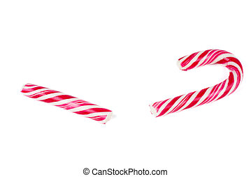 Brocken candy cane isolated on white background