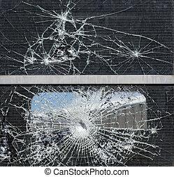 brocken glass - broken window on an abandoned passenger ...