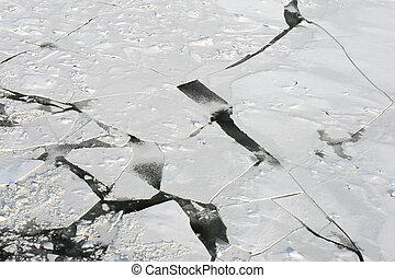 Brocken ice on river