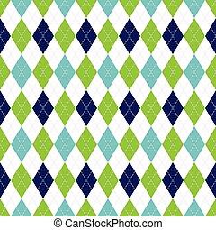 brocket, blå, mönster, argyle, pattern., seamless, color., vektor, grön, marin