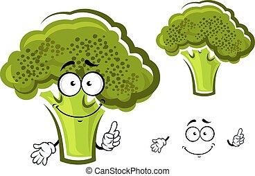 brocoli, frais, dessin animé, légume vert
