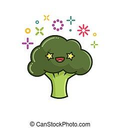 brocoli, illustration, kawaii, sourire, dessin animé
