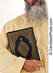 broda, muslim, długi, ręka, koran, człowiek