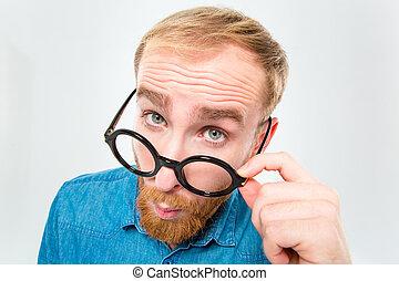 broda, na, młode przeglądnięcie, czarnoskóry, zabawny,...