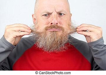 brodaty, jego, łysy, dotykanie, człowiek, broda