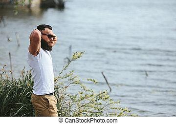 brodaty, jego, amerykanka, dotykanie, człowiek, broda