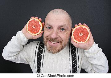 brodaty, jego, cięty, grejpfrut, siła robocza, uśmiechnięty człowiek