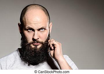 brodaty, jego, dotykanie, closeup, broda, człowiek