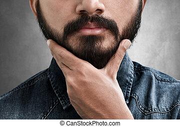 brodaty, jego, dotykanie, człowiek, broda