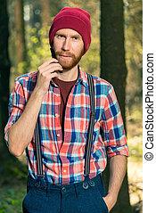 brodaty, jego, pionowy, las, naczesując, portret, wiejski, człowiek, broda