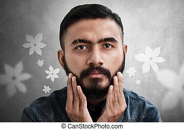 brodaty, jego, przystojny, dotykanie, człowiek, broda