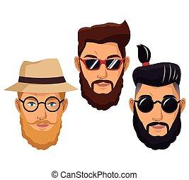 brodaty, mężczyźni, hipster, styl, fason