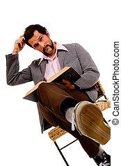 brodaty, męski student, zamieszanie, -, książka, wyrażając, czytanie