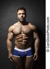 brodaty, muskularny, człowiek
