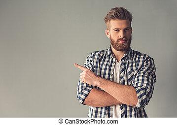 brodaty, przystojny, człowiek