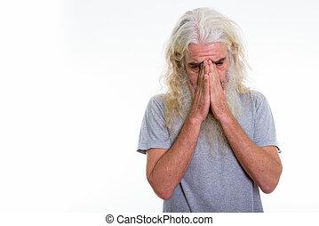 brodaty, strzał, czapka twarz, znowu, dowcip, studio, płacz, starszy człowiek