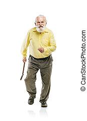 brodaty, szczęśliwy, stary, pieszy, człowiek