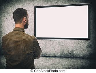 brodaty, telewizja, wstecz, patrząc, facet, prospekt