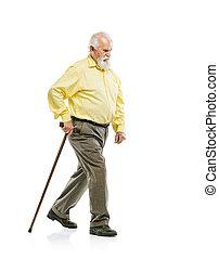 brodaty, trzcina, stary, pieszy, człowiek