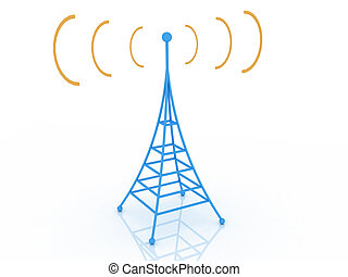 Brodcasting - 3d render of radio tower. Communication...