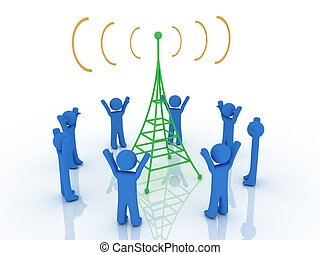 Brodcasting - 3d render of radio tower. Communication ...