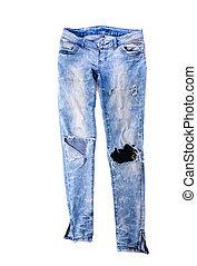 broek, oud, jeans