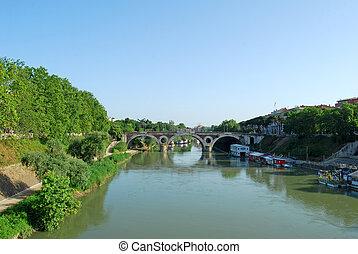 broer, hen, den, flod tiber, ind, rome, -, italien