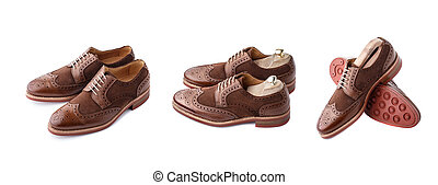 Brogues set isolated - Set of two tone brown suede brogues...