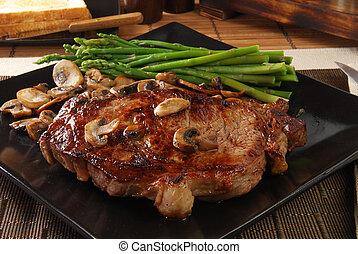 Broiled steak - A juicy broiled steak with sauteed mushrooms...