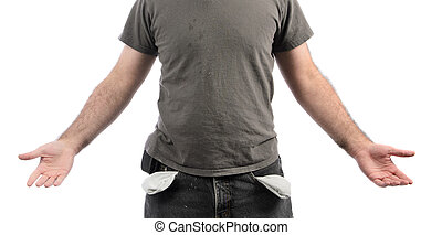 A broke man with empty pockets, isolated on a white background.