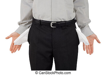 Broke businessman shows his empty pockets, isolated on white
