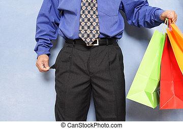 Broke businessman - Businessman with no money left after...