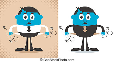 Conceptual illustration depicting bankruptcy, in 2 versions. No transparency and gradients used.